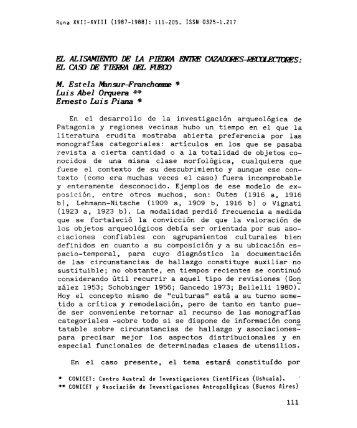 b), Lehmann-Nitsche (1909 a, 1909 b, 1916 b) o Vignati CONICET ...