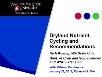 Dryland Nutrient Cycling and Recommendations - Dept. of Crop and ...