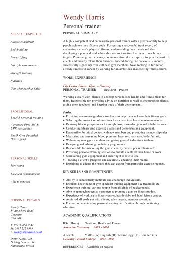 Chef cv template download dayjob personal trainer cv template dayjob pronofoot35fo Gallery