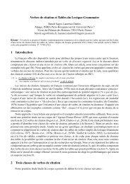 Verbes de citation et Tables du Lexique-Grammaire 1 Introduction 2 ...
