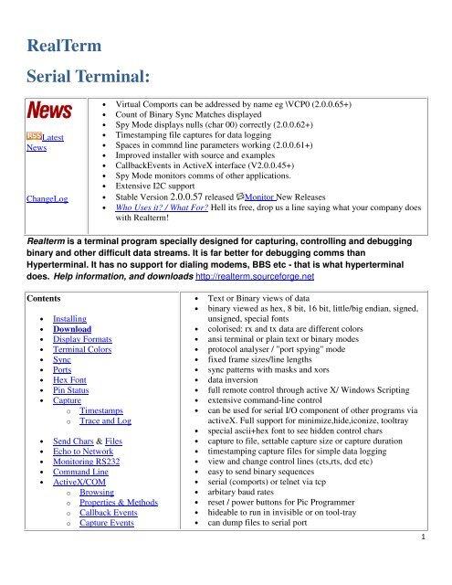 RealTerm Serial Terminal: - RF Neulink