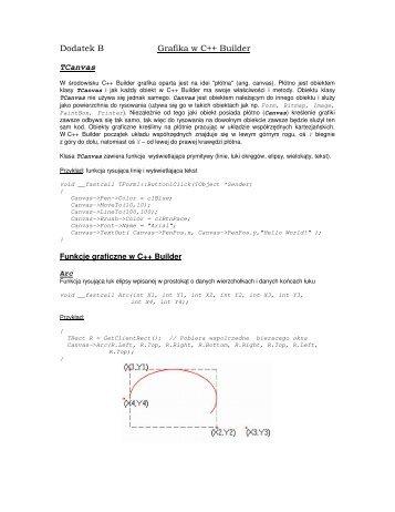 Dodatek B Grafika w C++ Builder TCanvas