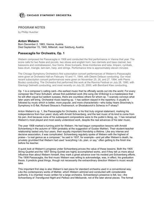 PROGRAM NOTES Anton Webern Passacaglia for Orchestra, Op  1