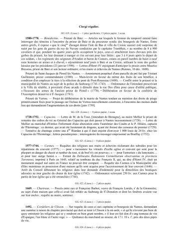 série GG - clergé régulier - Archives municipales de Nantes