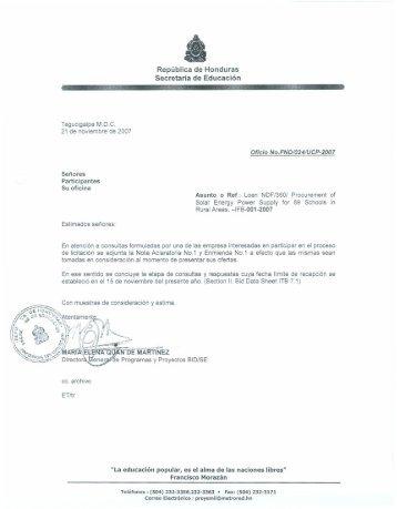 República de Honduras Secretaria de Educación - HonduCompras