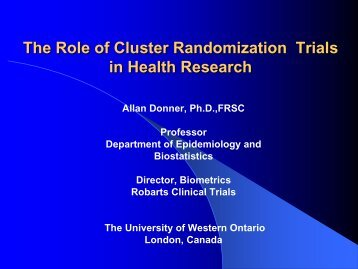 Design and Analysis of Cluster Randomization Trials In Health ...