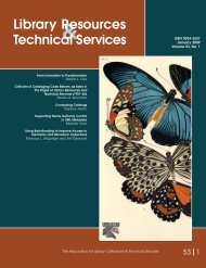 Library Resources Technical Services - American Library Association