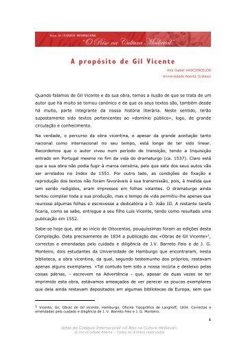 A PROPÓSITO DE GIL VICENTE - Universidade Aberta