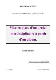 Mise en place d'un projet interdisciplinaire à partir d'un album. - IUFM