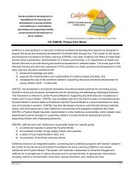 California/CSEFEL Project Fact Sheet - Center on the Social and ...