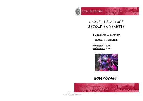 CARNET DE VOYAGE - Bts Tourisme