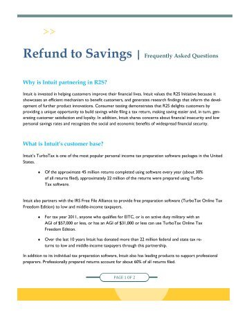 Refund to Savings | Frequently Asked Questions Why is Intuit ...