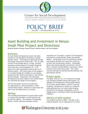 Asset Building and Investment in Kenya - Center for Social ...