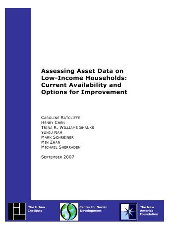 Assessing Asset Data on Low-Income Households - Urban Institute