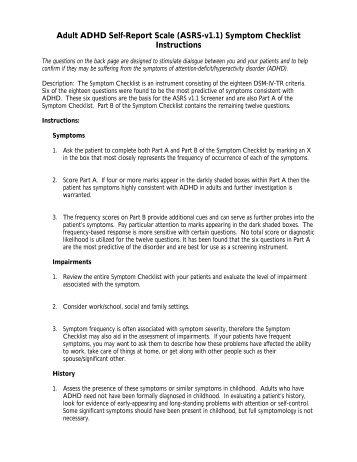 Adult ADHD Self-Report Scale (ASRS-v1.1) Symptom Checklist ...