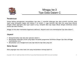 Tipe Data Dalam C - cs.unsyiah.ac.id. - Universitas Syiah Kuala