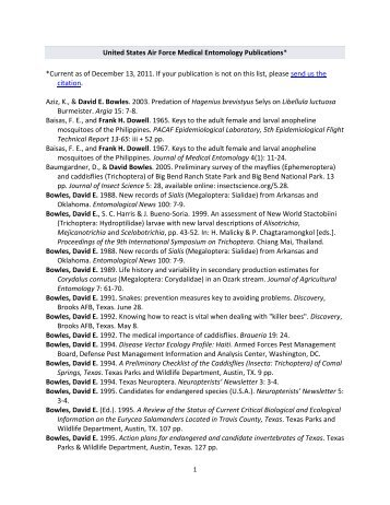United States Air Force Medical Entomology Publications