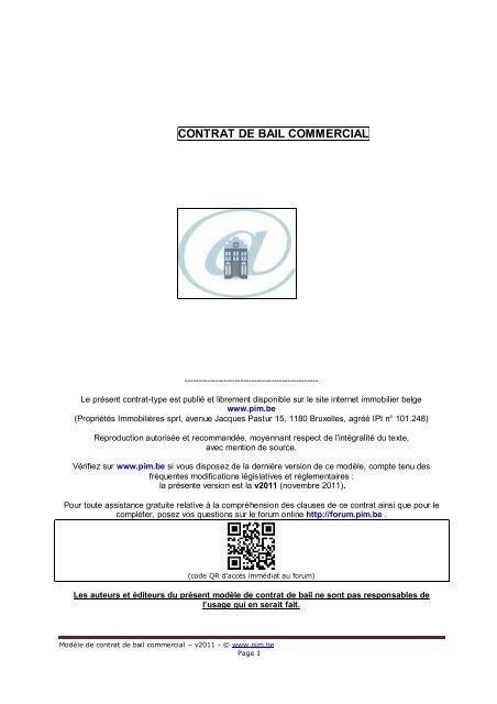 Contrat De Bail Commercial Pim Be
