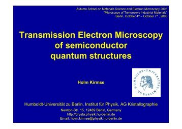 Transmission Electron Microscopy of semiconductor quantum - AG ...