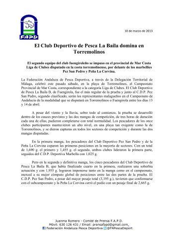 El Club Deportivo de Pesca La Baila domina en Torremolinos - FAPD