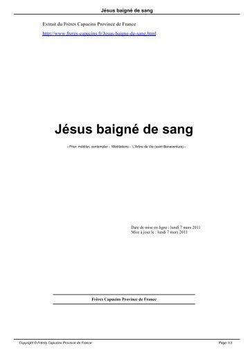 Jésus baigné de sang - Frères Capucins Province de France