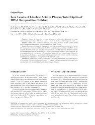 Low Levels of Linoleic Acid in Plasma Total Lipids of HIV-1 ...