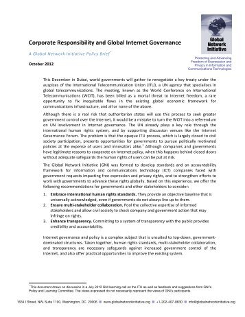 Corporate responsibility and internet governance