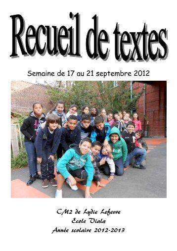 Recueil de textes des CM2 - Semaine du 17 au 20 septembre 2012