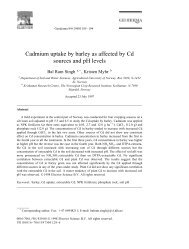 Cadmium uptake by barley as affected by Cd sources and pH levels