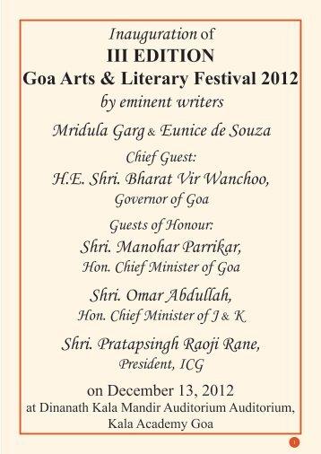 Inauguration of III EDITION Goa Arts & Literary Festival 2012 by ...