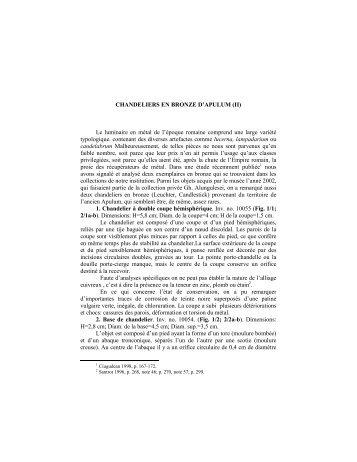 CHANDELIERS EN BRONZE D'APULUM (II) Le luminaire en métal ...