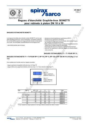 Bagues d'étanchéité Graphite-Inox BONETTI pour ... - Spirax Sarco