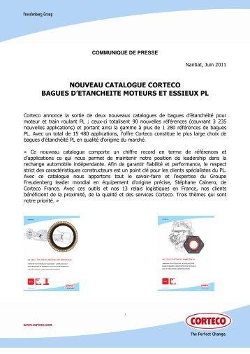 nouveau catalogue corteco bagues d'etancheite moteurs et essieux pl