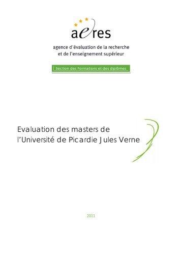 Evaluation des masters de l'Université de Picardie Jules Verne - Aeres