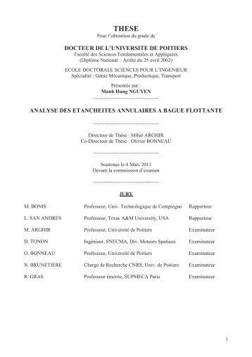 Analyse des étanchéités annulaires à bague flottante - Université de ...