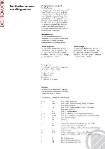 Familiarisation avec nos désignations (PDF, 123 Kbyte) - Dichtomatik