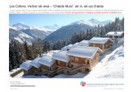 "Les Collons, Verbier ski area – ""Chalets Mura"", ski in, ski out chalets"