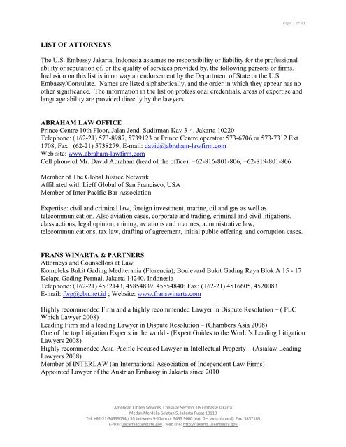 LIST OF ATTORNEYS The U S  Embassy Jakarta, Indonesia