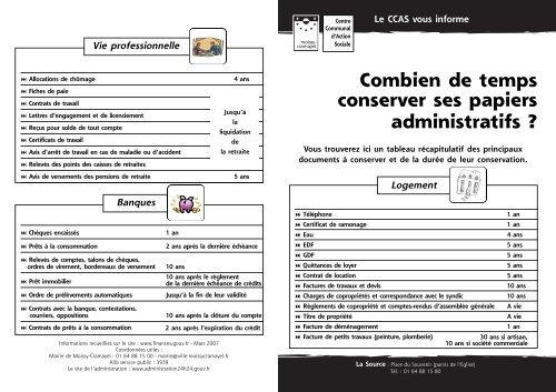 Combien De Temps Conserver Ses Papiers Ville De Moissy Cramayel