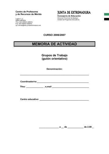 CENTRO DE PROFESORES Y DE RECURSOS ... - CPR de Mérida