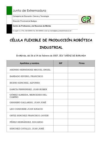 CÉLULA FLEXIBLE DE PRODUCCIÓN ... - CPR de Mérida
