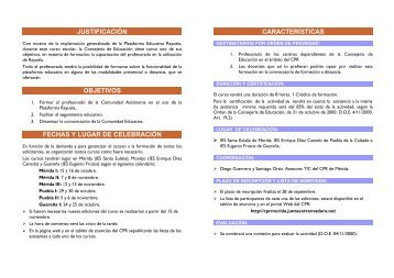 características justificación objetivos fechas y lugar ... - CPR de Mérida
