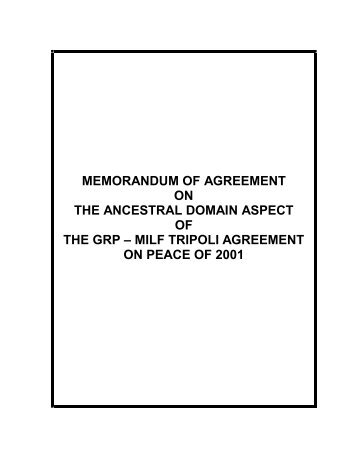memorandum of agreement on the ancestral domain aspect of the ...