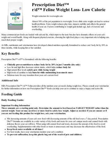 Prescription Diet™ r/d™ Feline Weight Loss ... - Hill's Pet Nutrition