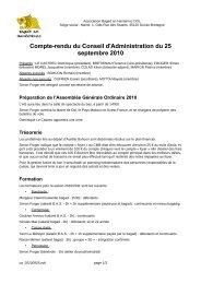 Compte-rendu du Conseil d'Administration du 25 septembre 2010