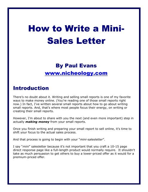 How To Write A Mini Sales Letter