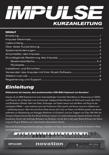 KURZANLEITUNG Einleitung - Novation