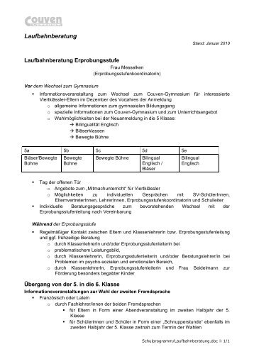 Laufbahnberatung - Couven-Gymnasium Aachen