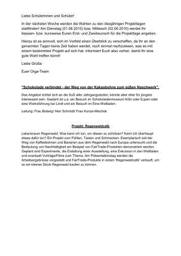Projektbeschreibungen 2010 - Couven-Gymnasium Aachen