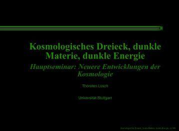 Kosmologisches Dreieck, dunkle Materie, dunkle Energie